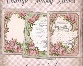 4 x 5.5 inch Vintage Shabby Chic Floral Blank and French Filled Labels Instant Digital Download Printable Transfer Image 0798