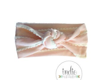 Blush Pink Scallop Turban / Knotted headband / Headband / Baby Newborn Kids Girls Women Adult headbands / Pink turban / Blush Pink Headwraps