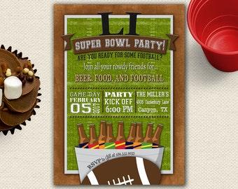 Super Bowl Party Invitation, Super Bowl Invitation, Football Party, Super Bowl Party, Superbowl Invitation, Superbowl Party Invitation