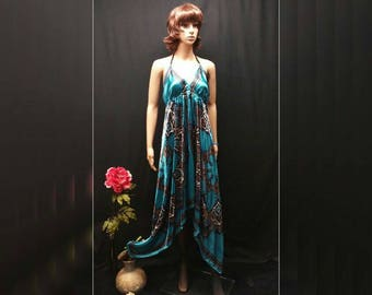 Scarf Dress - Blue Teal Retro Print Convertible Satin Square Scarf Dress, Multi-wearing Blue Asymmetrical Handkerchief Summer Cruise Dress