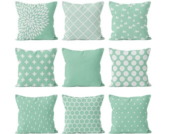 Mint Pillow Cover Mix and Match, Mint Green and White Throw Pillow Cover, Minimalist Geometric Nursery Teen Bedroom Living Room Pillow Set