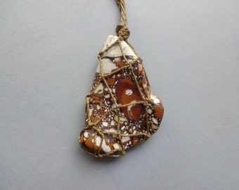 Rare Puddingstone Macrame knotted pendant necklace jewelry