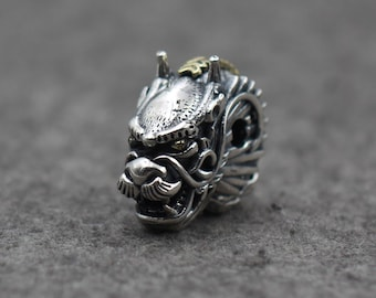 Retro design  S925 sterling Silver  Dragon Head Bracelet Necklace Connector Charm Beads Charm 19.8g