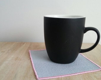 Custom pale blue and pink tea and coffee coasters