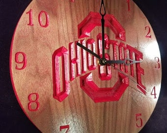 Ohio State University Clock/ Buckeyes Fans/Baseball Art
