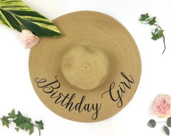 Birthday Girl Hat - Floppy beach hat - Monogrammed hat - Monogram floppy hat - Birthday Gift - Statement Hat -Sequin Word Hat - Sequin Hat