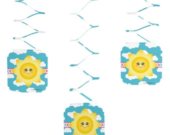 You Are My Sunshine - Hanging Decorations - Baby Shower or Birthday Party Decorations - You Are My Sunshine Paper Party Supplies - Set of 6