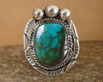 Large Navajo handmade sterling silver and free form turquoise ring size 12