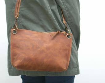 Leather messenger  bag ,Toasted  distressed color