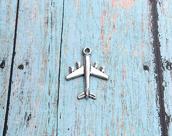 6 Large airplane charms 3D antique silver tone - silver airplane pendants, pilot charms, flight attendant charms, plane charms, PP17