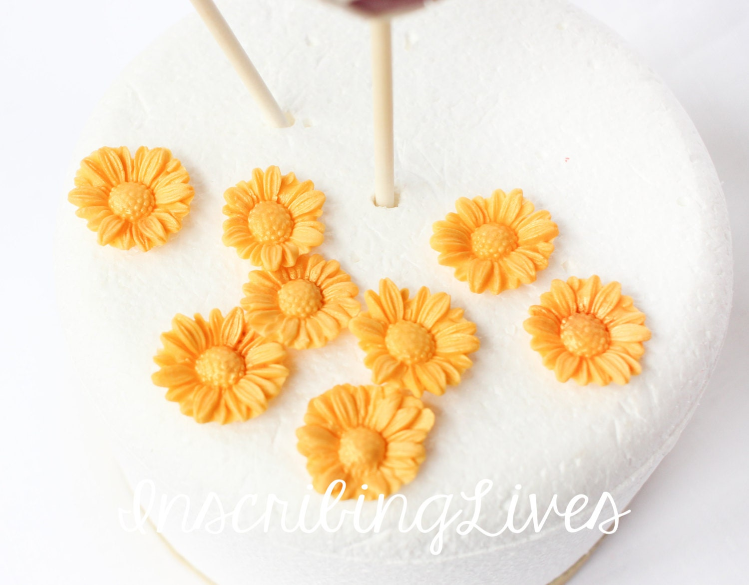 36 Small Gold Daisy Fondant Flowers Cake Pop Toppers Decorations