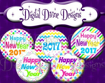 Happy New Year 2017 - 1 inch round digital graphics - Instant Download