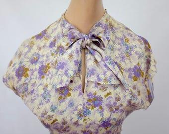 The Rosemary: 1950's vintage floral lavender blue cream moss silky secretary bow sash keyhole pleated cap sleeve dress small medium