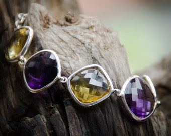 Amethyst Citrine Chain Bracelet / Sterling Silver / Fine Quality / Balinese Handmade