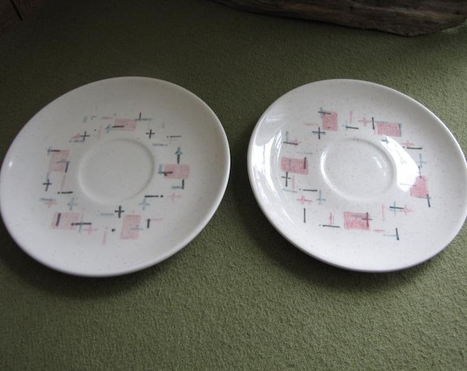 Metlox Tickled Pink Two (2) Saucers Vintage Mid Century Modern Dinnerware 1958 to 1965