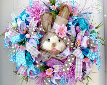 Easter Wreath -Deco Mesh Wreath- Front Door Wreaths- Spring Wreath