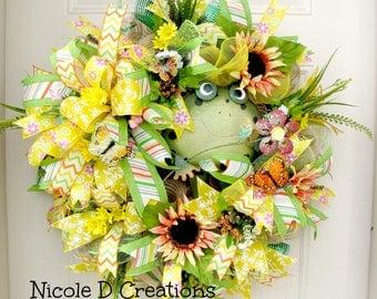 Deco Mesh Wreath- Summer Wreath-Spring Wreath- Front door Wreath- Frog Wreath