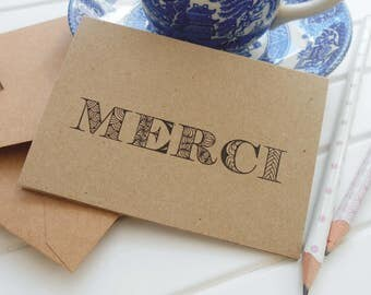 Thank You Note Cards 10pk Thank You Card Set with envelopes MINI cards rustic recycled kraft thank you notes Merci