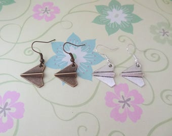 Origami Plane Charm Earrings in Bronze or Silver with Fish or Kidney Hooks - Ready to Ship