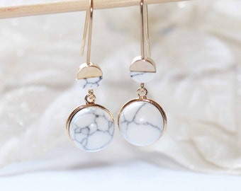Gold plated earrings with howlite stones