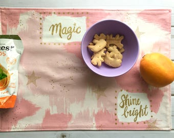 Magic Placemat (Pink Placemat, Metallic Gold, Waterproof PUL, Cotton Mat, Montessori Lunch, Encouragement Gift For Girl, Back To School)