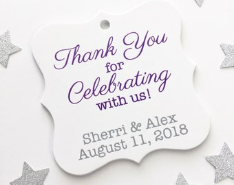 Thank You For Celebrating with Us Favor Tags, Custom Wedding Favor Tags, Wedding Hang Tags  (FS-070)