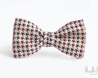 Houndstooth Bow Tie / dogtooth bowtie / mens bow tie / cotton bow tie / groomsmen bow tie / wedding bow tie