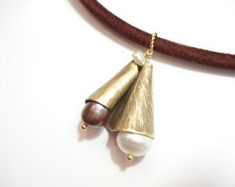 Hammered Bronze Tahitian Pearl Necklace Modern  Choker  Metalwork Pendant Velvet Bronze and Pearls Necklace