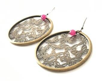 Earrings, pink fuchsia alexandrite prints round butterflies, antique bronze