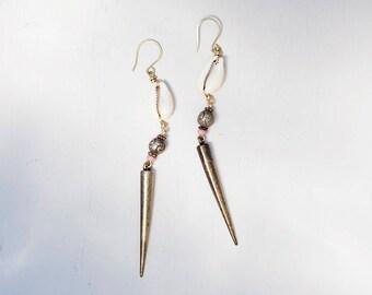Cowrie shell earrings, Long earrings, Raw brass jewellery, Pink and gold, beach boho jewelry, dangly spike earrings, bohemian earrings