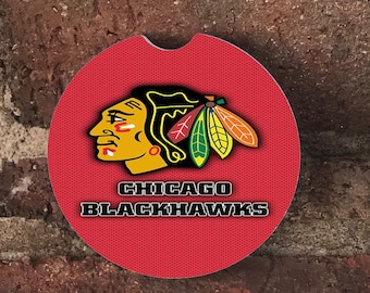 Custom Chicago Blackhawks Sandstone Auto Car Cup Coasters (set of 2), Absorbent Sandstone Personalized Car Coasters (set of 2) Gift Ideas
