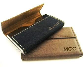 Business Card Case - Personalized Leatherette Business Card Holder - Executive Gift - Engraved Business Card Wallet - Monogram Gift - Magnet