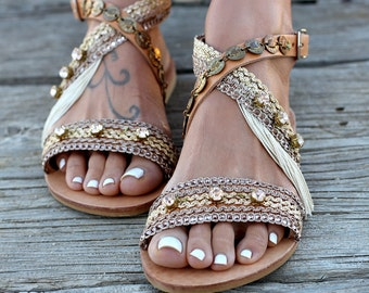 "Artisanal Leather Sandals, Handmade Greek leather sandals, Swarovski crystals, Sandals ""Cloelia"""