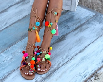 Chili Mango Sandals, Tie Up Gladiator Sandals, Greek Leather Sandals, Boho sandals, Pom Pom sandals