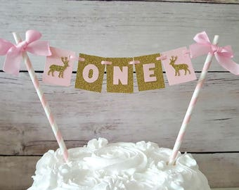 Woodlands Cake Topper Pink and Gold Cake Topper Deer Theme Birthday Woodlands First Birthday Birthday Bunting Cake Bunting Girl Doe Party
