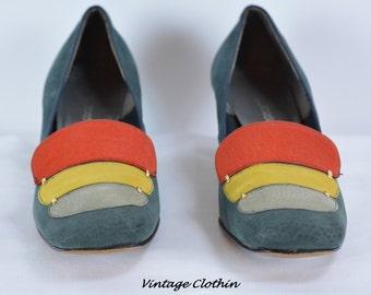 c1960s Florsheim Color Block Pumps, Florsheim Shoes, Vintage Shoes, Vintage Pumps, 1960s Pumps, Mod Pumps, Madmen Pumps, 1960s, 1960, Shoes