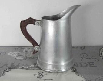 Antique Belgian Water Jug with Bakelite handle, Vintage aluminum pitcher from Belgium.