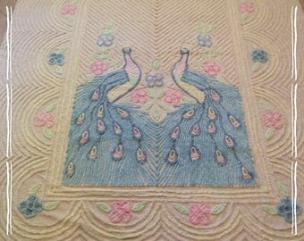 "Chenille bedspread, pastel peacock, vintage, never used with no issues, 76"" x 109"" baby blue peacocks with flowers"