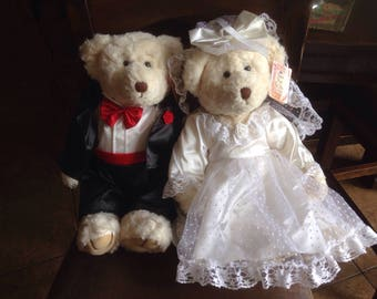 """WEDDING Bears of the Past from Russ Berrie . 20"""" tall! Quality construction . Now retired . Used once, boxed in storage.Excellent condition!"""
