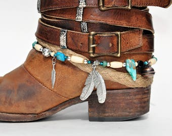 Hanging Feather Charm Beaded Boot Bracelet