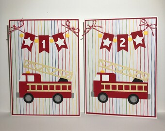 Fire Truck Birthday Age Card 1,2,3,4,5