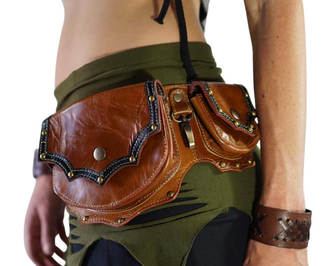 Featured listing image: GRANDE BROWN - Handmade Leather Utility Belt With Pockets Renaissance Hip Pouch Belt Festival Burning Man Belt Steampunk Belt-  Brown