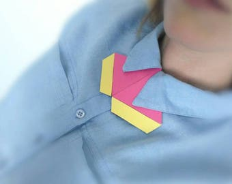 SALE one of a kind geometric bow tie alternative, shirt necklace, unique necklace, unisex bow tie, collar accessory, statement necklace