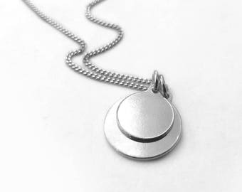 925 Sterling Silver Necklace, Two Charms Pendant Necklace, Two Round Discs Necklace, Silver Jewelry