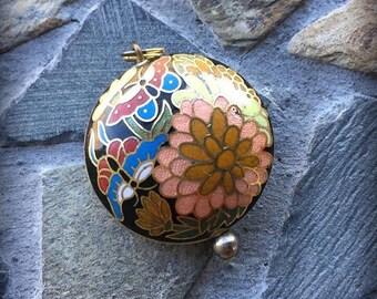 Vintage Cloisonné Multicolored Black Floral Gold Trimmed Pendant or Necklace Set