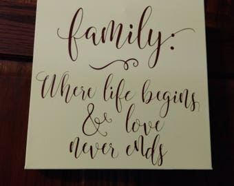 """Family 12"""" x 12"""" Canvas Wall Sign"""