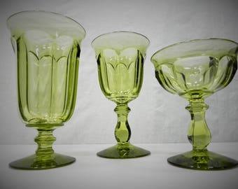 Old Williamsburg Verde Green Glassware by Imperial Glass-Ohio - 3 piece set