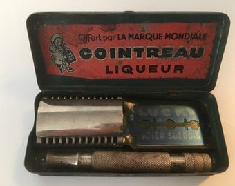 Antique Gillette Razor French Set in Original Tin with Cointreau Advertising