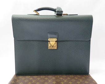 Louis Vuitton Vintage Taiga Green Leather Briefcase