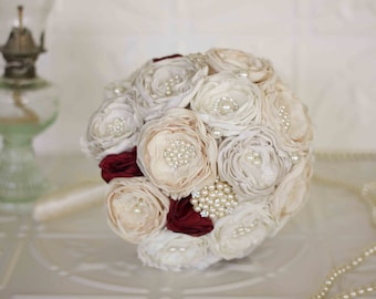 Fabric Flower Brooch Wedding Bouquet, Ivory and Cream with Burgundy satin, chiffon and Lace Bridesmaids Bouquet
